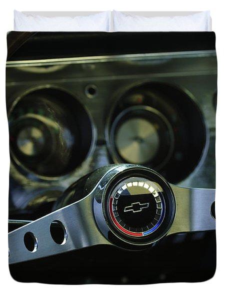 1965 Chevrolet Chevelle Malibu Ss Steering Wheel Duvet Cover by Jill Reger