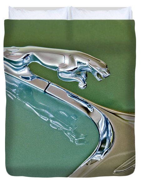 1966 Jaguar Hood Ornament Duvet Cover by Jill Reger