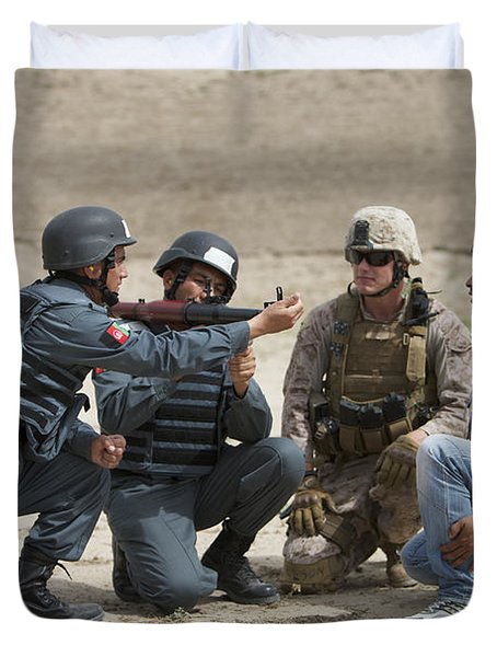 An Afghan Police Student Loads A Rpg-7 Duvet Cover by Terry Moore