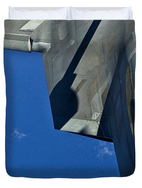 An F-22 Raptor In Flight Duvet Cover by Stocktrek Images