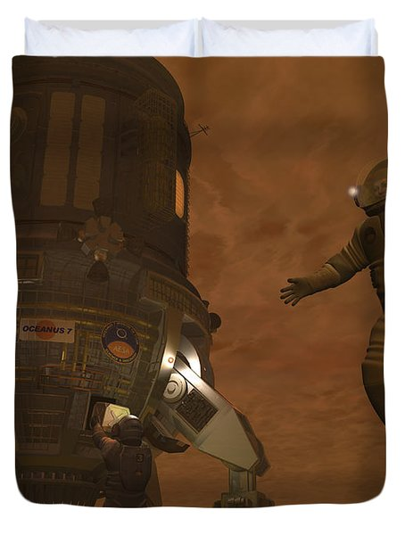 Artists Concept Of Astronauts Exploring Duvet Cover by Walter Myers
