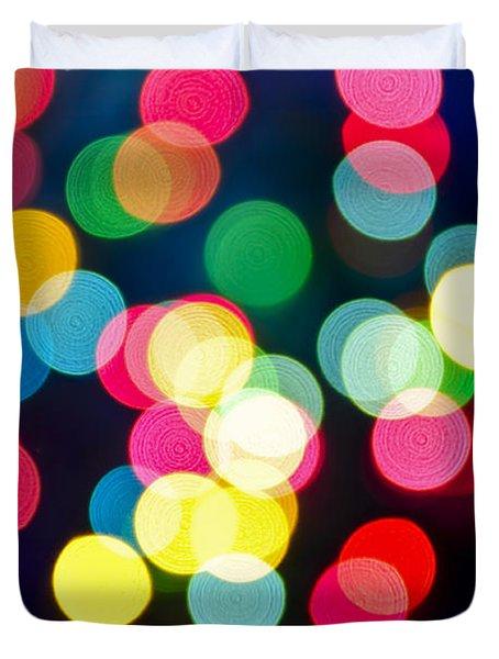Blurred Christmas Lights Duvet Cover by Elena Elisseeva