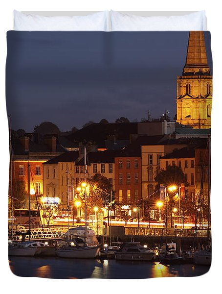 Boats Moored On River Suir At City Duvet Cover by Trish Punch