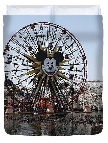 Ferris Wheel And Roller Coaster - Paradise Pier - Disney California Adventure - Anaheim California - Duvet Cover by Wingsdomain Art and Photography