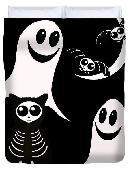 Halloween Bats Ghosts And Cat Duvet Cover by Gravityx Designs