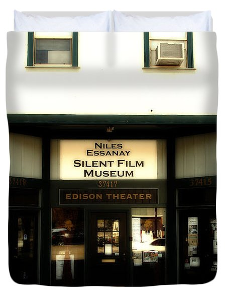 Historic Niles District In California Near Fremont . Niles Essanay Silent Film Museum.edison Theater Duvet Cover by Wingsdomain Art and Photography
