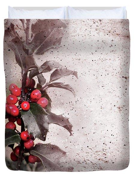 Holly Branch  Duvet Cover by Carlos Caetano