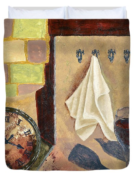 Kitchen Collage Duvet Cover by Susan Schmitz