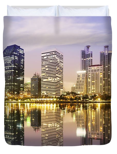 Night Scenes Of City Duvet Cover by Setsiri Silapasuwanchai