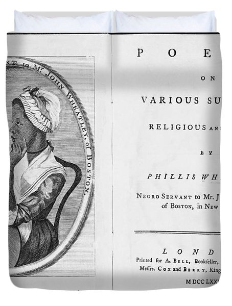 Phillis Wheatley, African-american Poet Duvet Cover by Photo Researchers