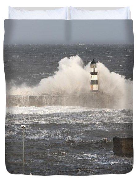 Seaham, Teesside, England Waves Duvet Cover by John Short