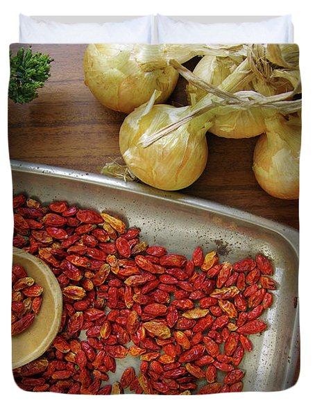 Spicy still life Duvet Cover by Carlos Caetano