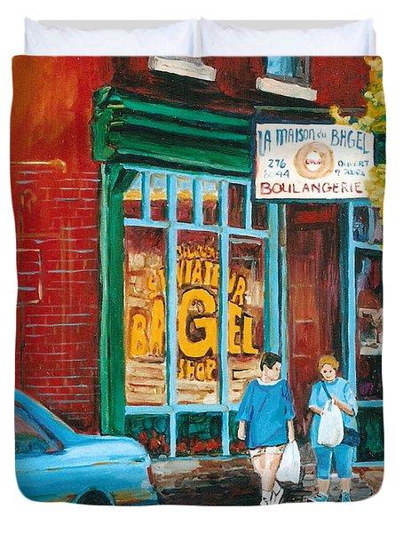 St. Viateur Bagel Shop Duvet Cover by Carole Spandau