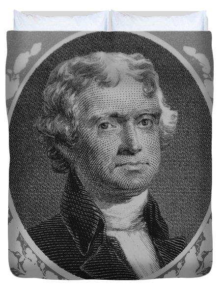 Thomas Jefferson In Black And White Duvet Cover by Rob Hans