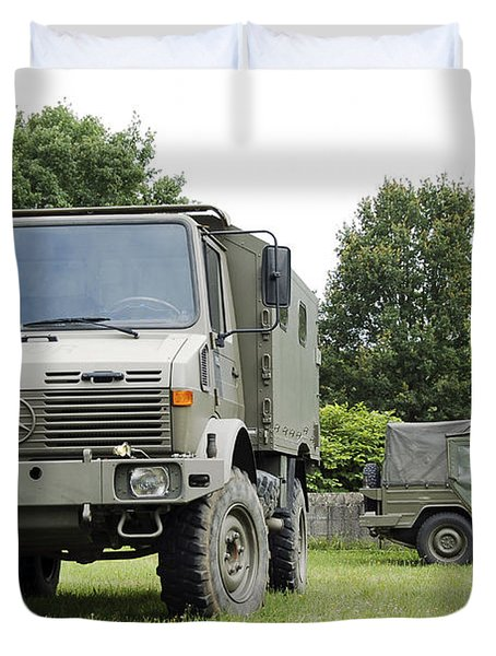 Unimog Truck Of The Belgian Army Duvet Cover by Luc De Jaeger