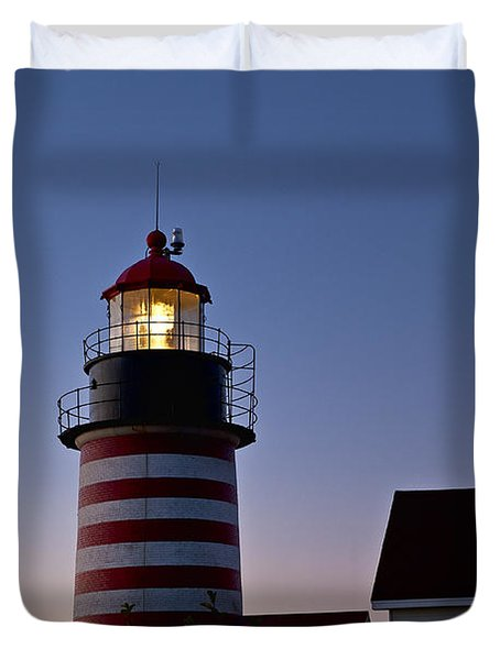 West Quoddy Head Lighthouse Duvet Cover by John Greim