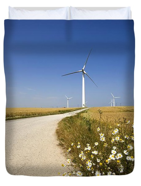 Wind Turbine, Humberside, England Duvet Cover by John Short