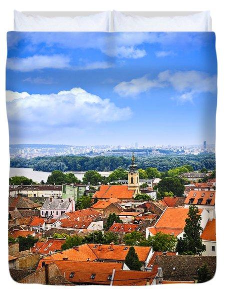 Zemun rooftops in Belgrade Duvet Cover by Elena Elisseeva