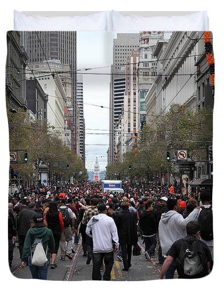 2012 San Francisco Giants World Series Champions Parade Crowd - DPP0002 Duvet Cover by Wingsdomain Art and Photography