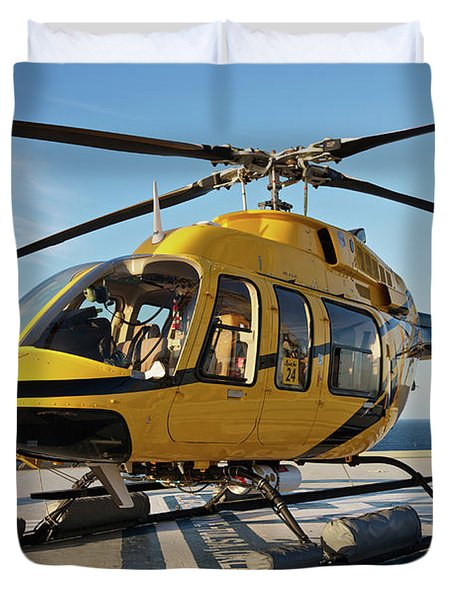 A Bell 407 Utility Helicopter Duvet Cover by Terry Moore