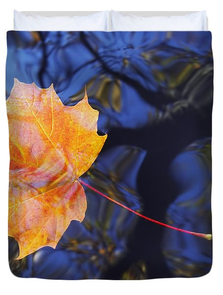 Autumn Leaf On The Water Duvet Cover by Michal Boubin
