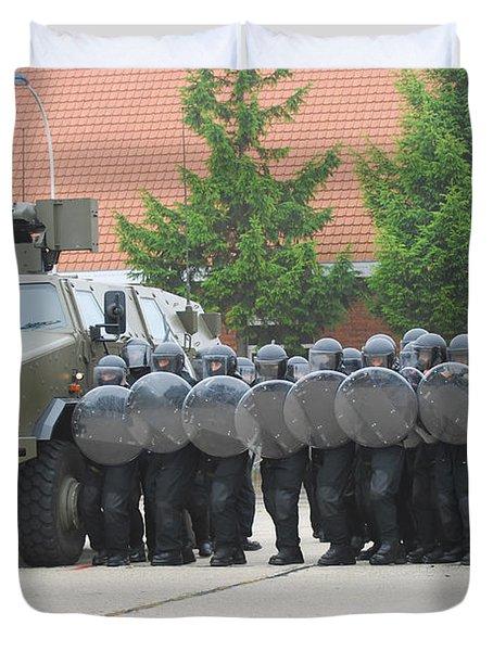 Belgian Infantry Soldiers Training Duvet Cover by Luc De Jaeger