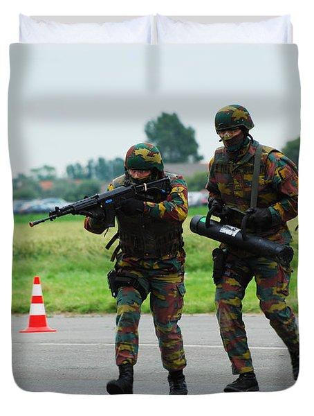 Belgian Paracommandos Entering Duvet Cover by Luc De Jaeger