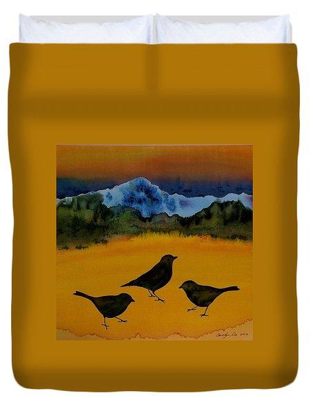3 Blackbirds Duvet Cover by Carolyn Doe