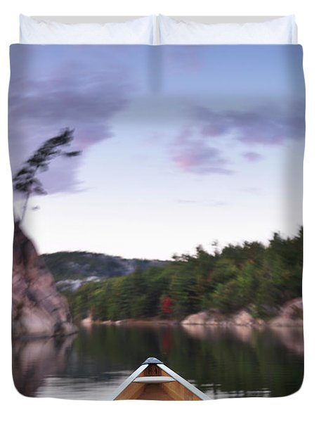 Canoeing In Ontario Provincial Park Duvet Cover by Oleksiy Maksymenko