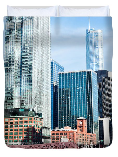 Chicago River Skyline Duvet Cover by Paul Velgos