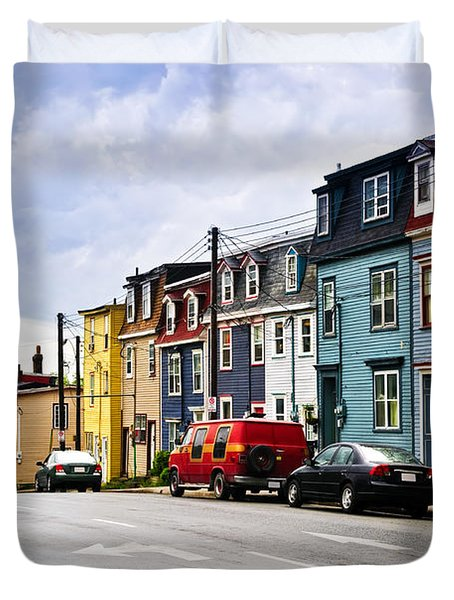 Colorful Houses In St. John's Newfoundland Duvet Cover by Elena Elisseeva