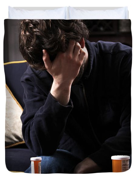 Depression And Addiction Duvet Cover by Photo Researchers, Inc.