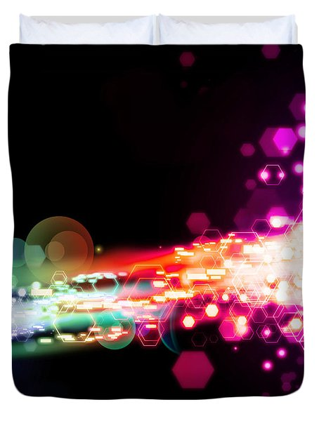 Explosion Of Lights Duvet Cover by Setsiri Silapasuwanchai