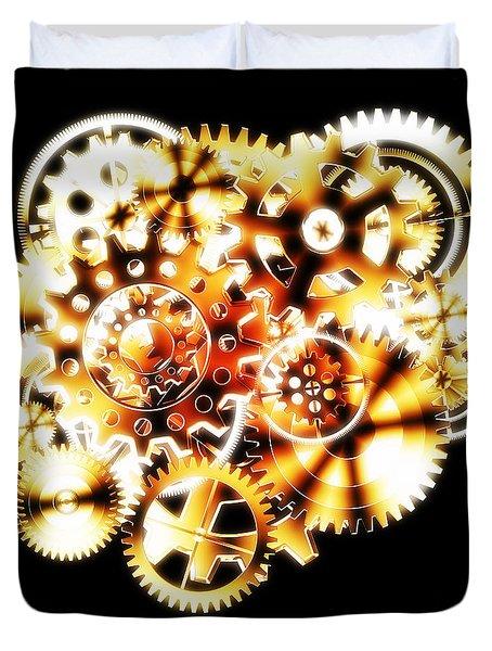 Gears Wheels Design Duvet Cover by Setsiri Silapasuwanchai