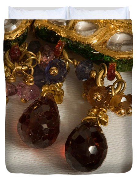 3 hanging semi-precious stones attached to a green and gold necklace Duvet Cover by Ashish Agarwal