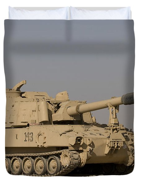 M109 Paladin, A Self-propelled 155mm Duvet Cover by Terry Moore