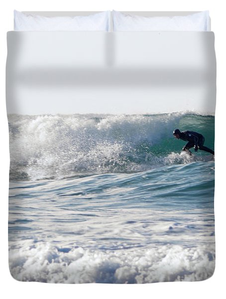 Surfers At Porthtowan Cornwall Duvet Cover by Brian Roscorla