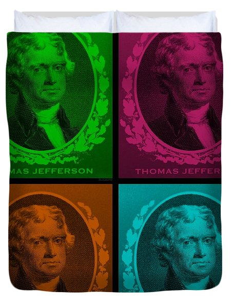 Thomas Jefferson In Quad Colors Duvet Cover by Rob Hans
