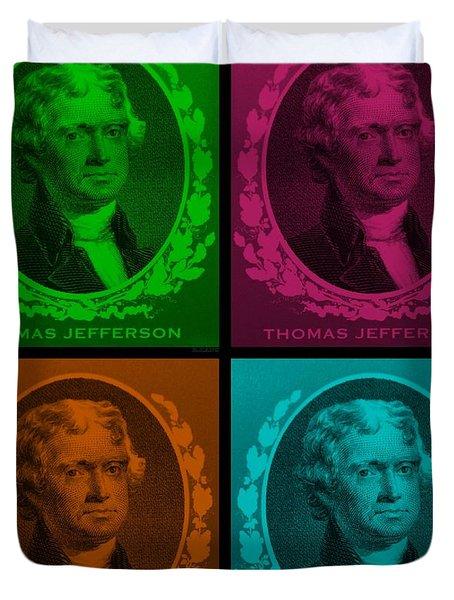 Thomas Jefferson In Quad Colors Duvet Cover by Rob Hans
