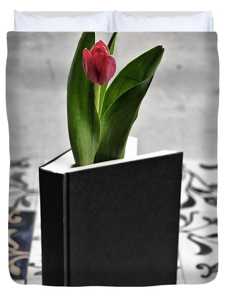 Tulip In A Book Duvet Cover by Joana Kruse
