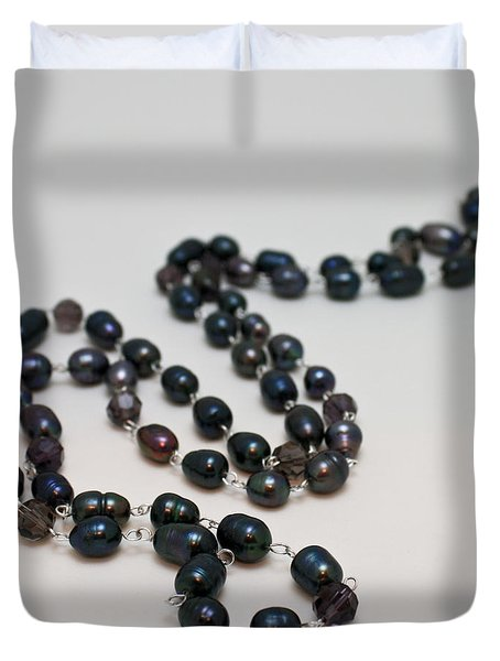 3613 Peacock Freshwater Pearl Rope Length Necklace  Duvet Cover by Teresa Mucha