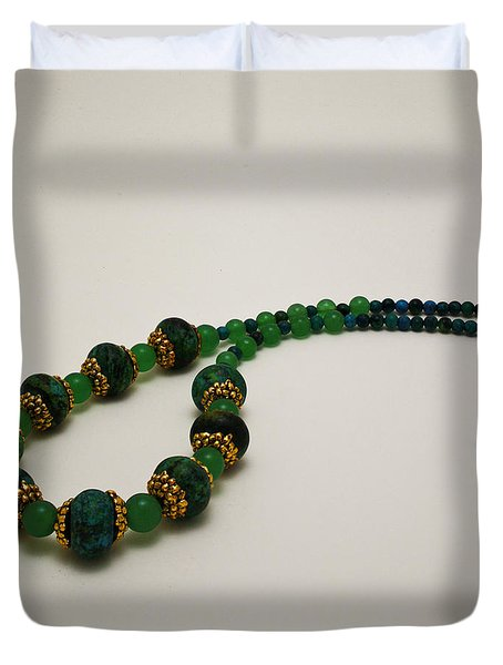 3616 Austrailian Jasper And Adventurine Necklace Duvet Cover by Teresa Mucha
