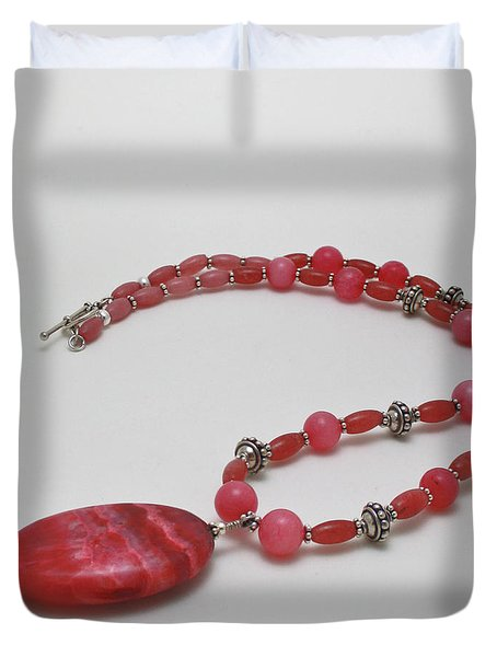 3619 Rhodonite And Bali Sterling Silver Necklace Duvet Cover by Teresa Mucha