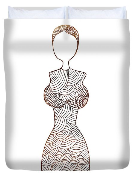 Fashion sketch Duvet Cover by Frank Tschakert