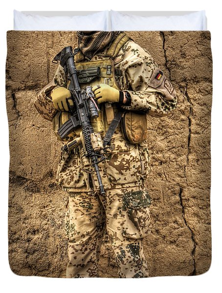 Hdr Image Of A German Army Soldier Duvet Cover by Terry Moore