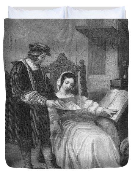 Johannes Gutenberg, German Inventor Duvet Cover by Photo Researchers