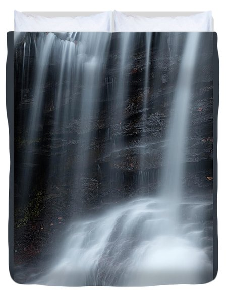 Misty Canyon Waterfall Duvet Cover by John Stephens