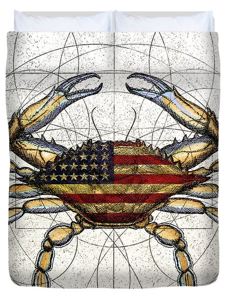 4th of July Crab Duvet Cover by Charles Harden