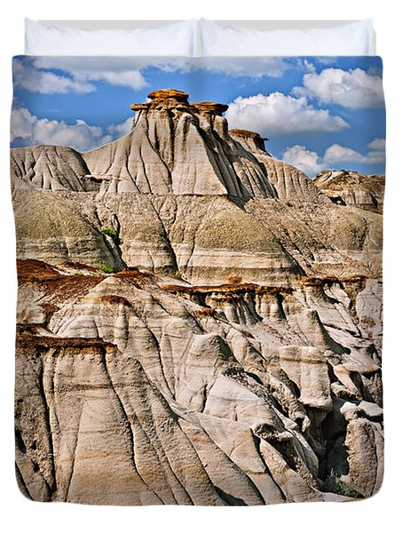 Badlands in Alberta Duvet Cover by Elena Elisseeva