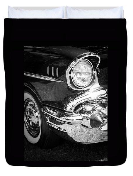 57 Chevy Black Duvet Cover by Steve McKinzie